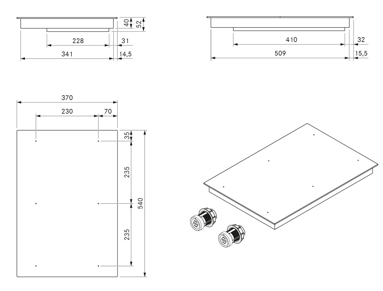 pkfi11 fl chen induktions kochfeld dunstabzug center. Black Bedroom Furniture Sets. Home Design Ideas