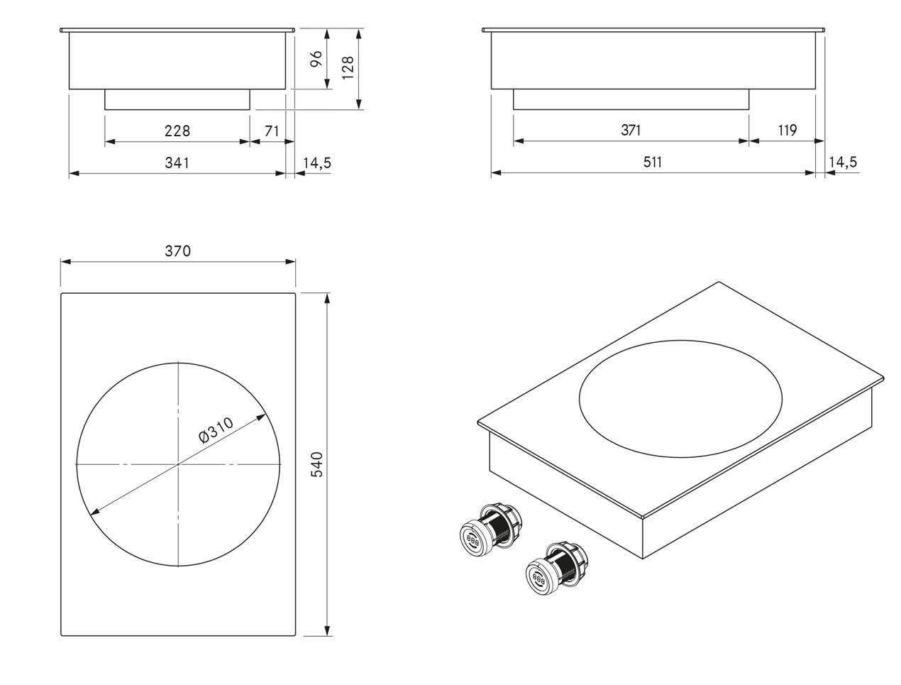 pkiw1 induktions glaskeramik wok dunstabzug center. Black Bedroom Furniture Sets. Home Design Ideas